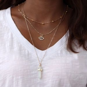 GINA✨ layered boho crystal necklace